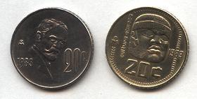 1) Son de 1983. 2) Son de 20c  3) Tienen el símbolo M del banco de México. 4) Muestran rostros  5) Son del mismo tamaño.